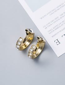 Fashion Gold Metal C-shaped Diamond 925 Silver Needle Plated Gold Earrings