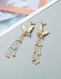 Fashion Gold Pearl S925 Silver Needle Butterfly Tassel Earrings