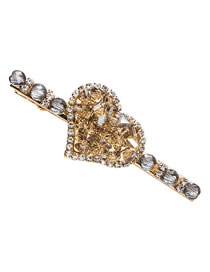 Fashion Gray Crystal Full Diamond Love Hairpin