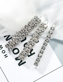 Fashion Silver Acrylic Diamond Hair Clip Three-piece