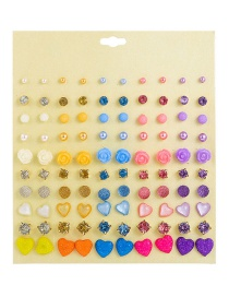 Fashion Color Resin Starry Earrings Set 50 Pairs