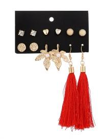 Fashion Gold Leaf Pearl Heart Stud Earring Set