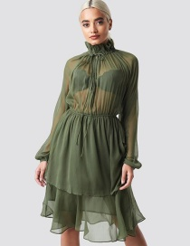 Fashion Green Lace-up High-neck Chiffon Dress