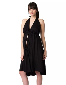 Fashion Black Halter Halter Deep V Strap Dress