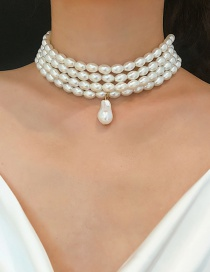 Fashion White Geometric Beaded Multi-layer Pearl Necklace
