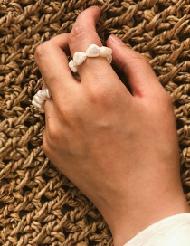Fashion White Geometric Shaped Pearl Elastic Ring