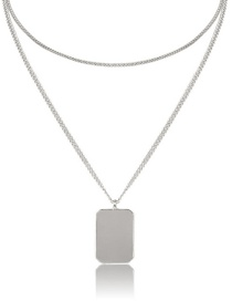 Fashion White K Geometric Double-layered Square Necklace