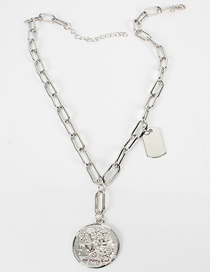Fashion White K Cross Buckle Alloy Portrait Coin Single Layer Necklace