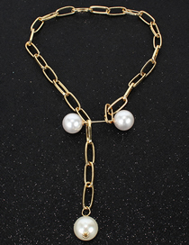 Fashion Gold Openwork Rectangular Adjustable Faux Pearl Necklace