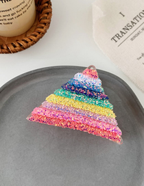 Fashion Rainbow Big Clip Rainbow Stripe Flash Drill Hair Clip