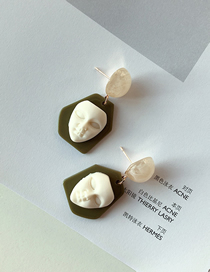Fashion Green Face Resin Face Doll Earrings