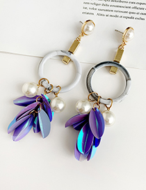 Fashion Purple Alloy Resin Pearl Sequin Tassel Earrings