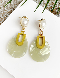 Fashion Yellow Alloy Resin Oval Earrings