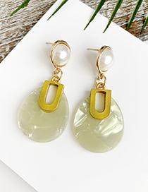 Fashion Yellow Alloy Resin Oval Earrings