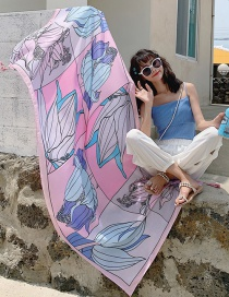 Fashion Color Matching Flower Oversized Sunscreen Shawl