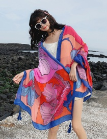 Fashion Color Matching Flowers Oversized Sunscreen Shawl