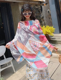Fashion Triangle Blue Light Pink Rhombic Cotton Scarf Beach Towel Dual Purpose