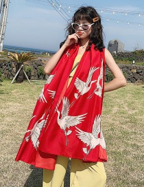 Fashion Crane Red Cotton And Linen Large Sunscreen Shawl