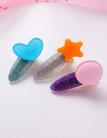 Fashion Blue Pink Orange Colorful Love Stars Round Hair Clips Three-piece