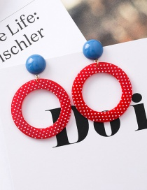 Fashion Red Ringlet Point Acrylic Earrings