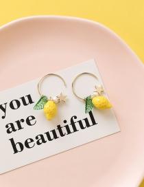 Fashion Yellow Star Lemon Strawberry Earrings