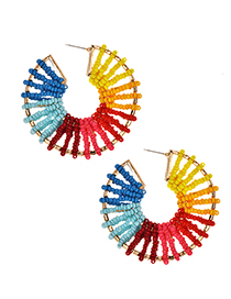 Fashion Color Alloy Rice Beads Hollow Round Earrings