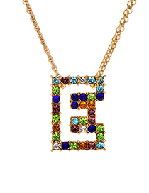 Fashion Letter E Alloy Diamond Alphabet Necklace