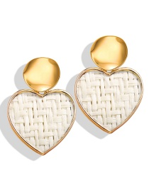 Fashion Heart White Sequined Straw Round Heart Earrings