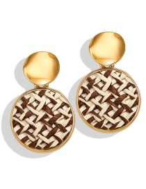 Fashion Round Coffee Rice Sequined Straw Round Heart Earrings