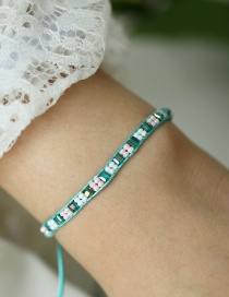 Fashion Green Inlaid Rice Beads Push-pull Bracelet