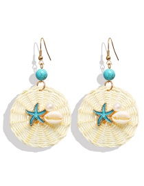 Fashion White Starfish Shell Pearl Rattan Woven Earrings