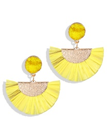 Fashion Yellow Lafite Fringe Fan Earrings