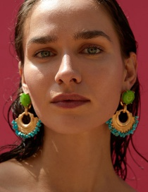 Fashion Green Turquoise Scalloped Earrings