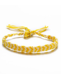 Fashion Yellow And White Arrow Color Rope Woven Anklet