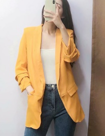 Fashion Yellow Sleeve Pleated Suit