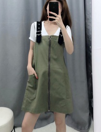 Fashion Green Zipper Strap Dress