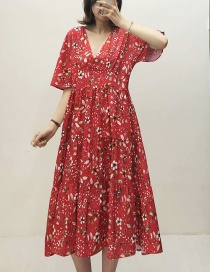 Fashion Red Flower Print V-neck Dress