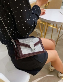 Fashion Red Wine Diamond Sequined Patent Leather Chain Messenger Bag
