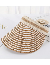 Fashion Light Brown Striped Straw Empty Top Hat