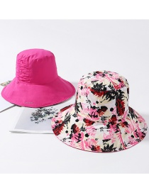 Fashion Rose Red Printed Double-sided Pleated Collapsible Basin Cap