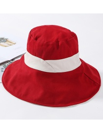 Fashion Red Cotton Large Double-sided Color Matching Patch Fisherman Hat