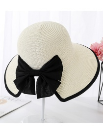 Fashion Milky White Encrypted Edging Slit Bow Visor