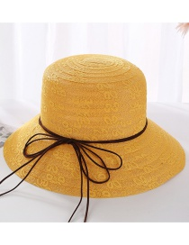 Fashion Mango Yellow Leather Rope Bow Double Layer Lace Basin Cap