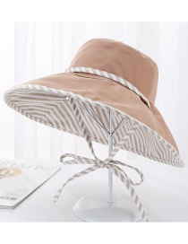 Fashion Khaki Double-sided Cotton Full-length Striped Tether Sun Hat