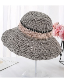 Fashion Gray Hand Hook Color Matching Straw Hat