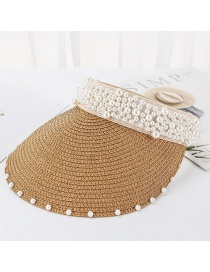 Fashion Light Brown Sewn Pearl Empty Straw Hat