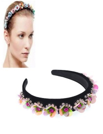 Fashion Color Flower Crystal Sequin Film Wide-brimmed Headband
