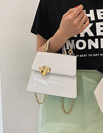Fashion White Stone-grained Buckle Shoulder-slung Tote