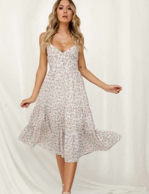 Fashion White Print Stitching Dress