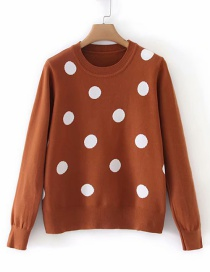 Fashion Brown Polka Dot Crew Neck Long Sleeve Sweater